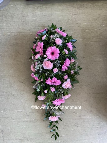 Pink Germini & Carnation Single - Ended Spray