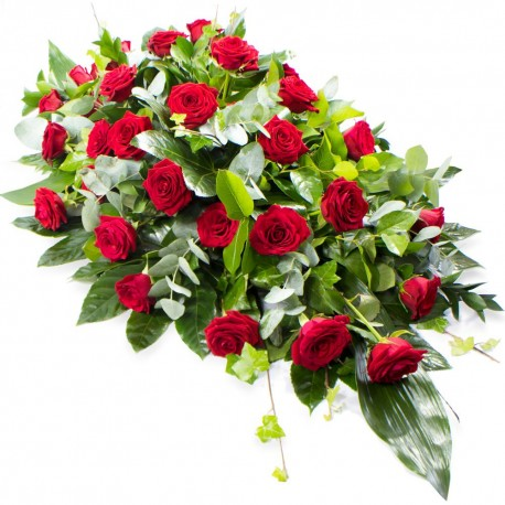 Single - ended Coffin Spray (Red Roses) SYM 305